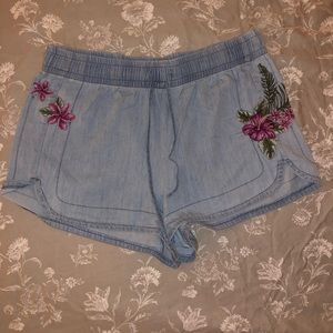Express Flower Embroidered Shorts
